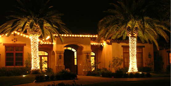 Home and Palm Trees in Vegas with Christmas Lights